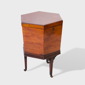 George III Style Carved Mahogany Hexagonal Cellarette on Stand