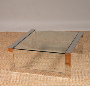 PAUL JONES CHROME AND GLASS LOW TABLE