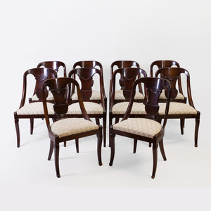 Set of Ten Classical Carved Mahogany Klismos Chairs