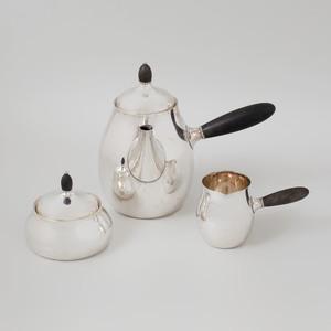 Georg Jensen Hammered Silver Three Piece Coffee Service