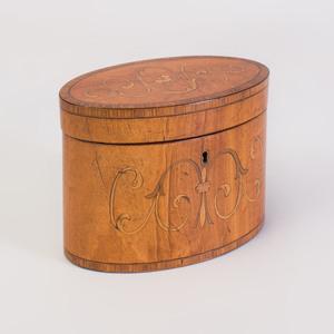 George III Inlaid Mahogany Tea Caddy