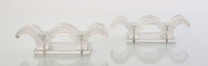 PAIR OF LALIQUE MOLDED GLASS 'PORQUEROLLES' CANDLESTICKS