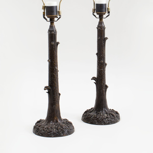 Pair of Bronze Tree Trunk-Form Table Lamps
