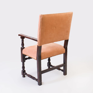 Continental Baroque Style Carved Walnut Armchair