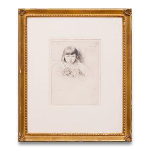 Julian Alden Weir (1852-1919): Girl and Her Dog