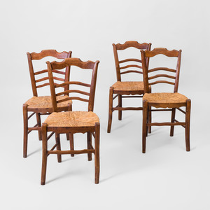 Set of Four French Provincial Fruitwood Side Chairs