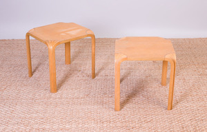 PAIR OF ALVAR AALTO FINNISH ASH SQUARE STACKING SIDE TABLES FOR ARTEK