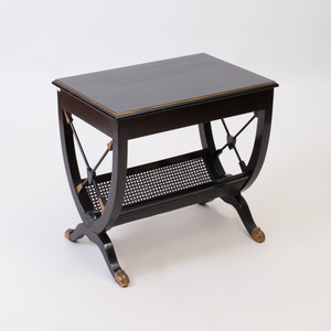 Empire Style Gilt-Metal-Mounted Ebonized and Caned Side Table, of Recent Manufacture