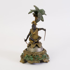 Continental Painted and Parcel-Gilt Bronze Figural Bell