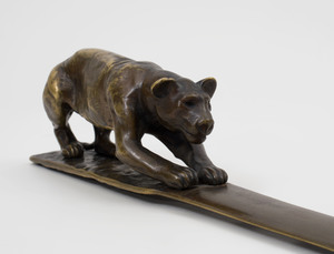 Franciszek Jozef Kucharzyk (1880-1930):  Bronze Letter Opener Modeled with a Panther