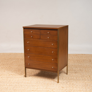 PAUL MCCOBB BRASS AND WALNUT CONNOISSEUR CABINET