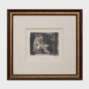 John Sloan (1871-1951): Nude by Bookcase