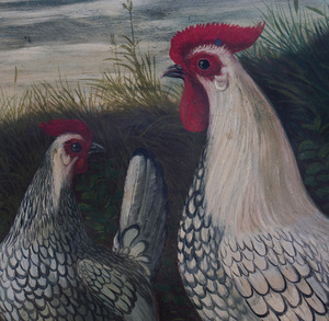 English School: A Cock and Two Hens in a Farmyard