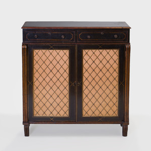 Regency Parcel-Gilt and Ebonized Side Cabinet
