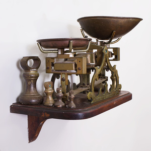 English Walnut-Base Brass Scale, Two Small Pans and Seven Bell-Form Weights