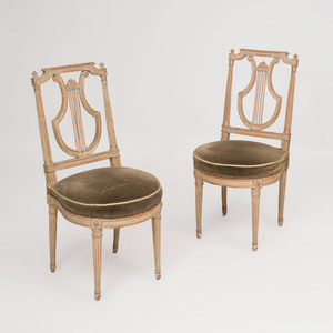 Pair of Louis XVI Style Grey Painted Fauteuils à la Reine