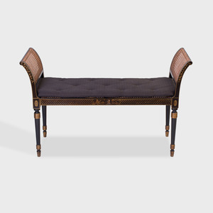 Regency Style Ebonized, Parcel-Gilt and Caned Window Bench