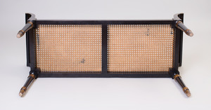 Regency Style Ebonized, Parcel-Gilt and Caned Window Bench