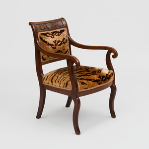Empire Style Brass-Mounted Mahogany Armchair