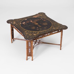 Chinese Export Black Lacquer and Parcel-Gilt Low Table