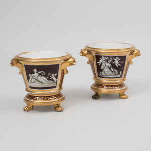 Pair of Coalport Brown and Gilt-Ground 'Mythological' Porcelain Jardinières and Stands