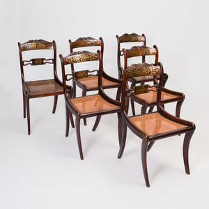 Set of Six Regency Style Brass Inlaid Mahogany Caned Dining Chairs