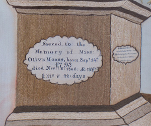 Fine Silk Embroidered Mourning Picture, by Lucy Moors, Probably Massachusetts