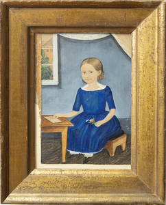 Attributed to Henry Walton (1804-1865): Portrait of a Little Girl with Light Brown Ringlets, Wearing a Blue Dress, Seated at a School Desk