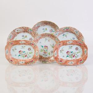 Chinese Export Faux Bois Porcelain Part Service
