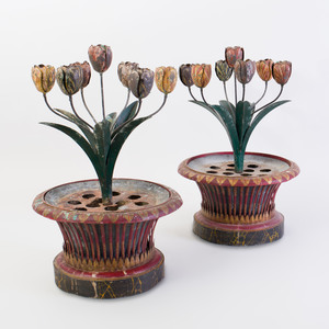 Pair of French Tôle Peinte Tulipiere Candleabra, in the Style of Elsie de Wolfe