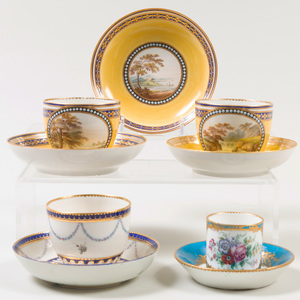 Pair of Derby Yellow Ground Cups and Saucers and a Cobalt Ground Cup and Saucer