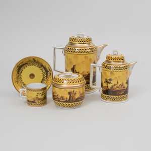 German Neoclassical Yellow Ground Porcelain Coffee Service