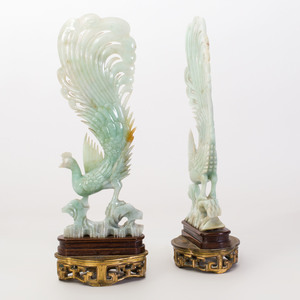 Pair of Chinese Carved Jade Figures of Phoenix