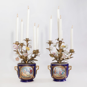 Pair of Sèvres Style Gilt-Bronze Cobalt Ground Bottle Coolers with Gilt-Bronze Five-Light Candelabra Inserts Mounted with Porcelain Flowers