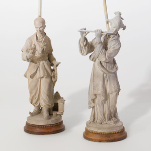 Pair of Louis XV Style Painted Terracotta Chinoiserie Figures Mounted as Lamps