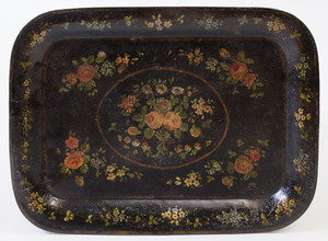 Victorian Style Tôle Peinte Tray on Painted Wood Stand