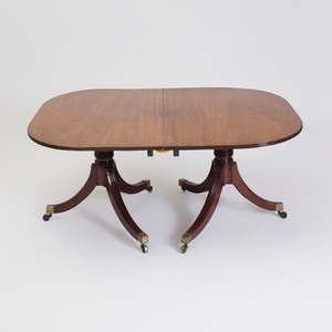 Regency Mahogany Three Pedestal Dining Table