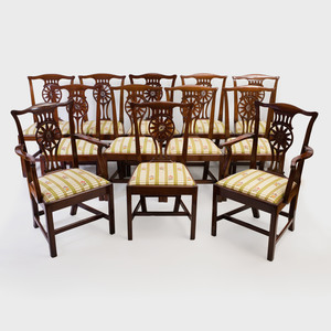 Set of Twelve George III Style Mahogany Dining Chairs