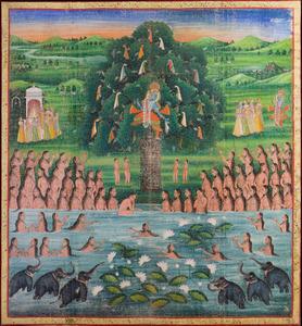 INDIAN SCHOOL: KRISHNA IN A TREE WATCHING WOMEN AND ELEPHANTS BATHING