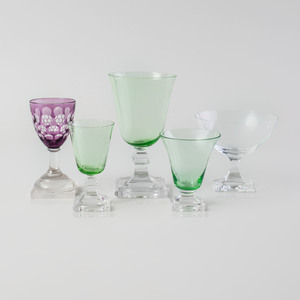 Assembled Colored Glass Stemware Service