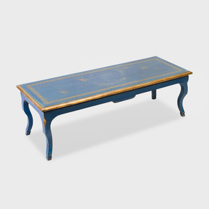 Rococo Style Blue Painted and Parcel-Gilt Low Table