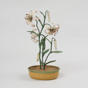 Italian Painted Tin Model of Lilies