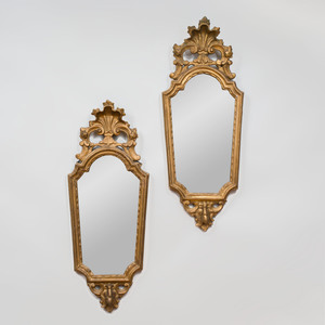 Pair of Italian Rococo Style Giltwood Mirrors
