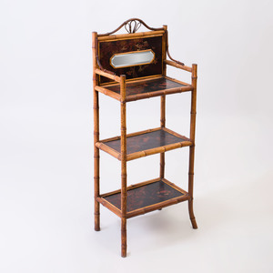 Edwardian Bamboo and Lacquer Étagère