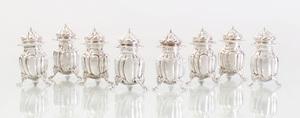 Set of Seven Frank W. Smith Silver Tripod Salts and a Set of Eight Frank W. Smith Silver Casters