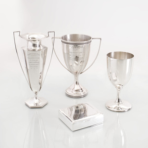 Two American Silver Trophy Cups and an American Silver Trophy Goblet