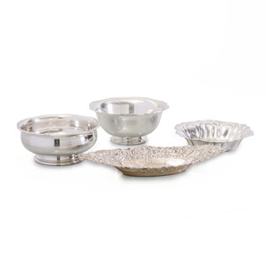 Wallace Silver Bowl in the 'Antique' Pattern, a Towle Silver Footed Bowl, a Whiting Silver Lobed bowl, and a Gorham Silver Navette Dish