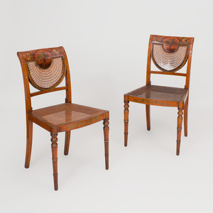 Pair of Edwardian Painted Satinwoood and Caned Side Chairs
