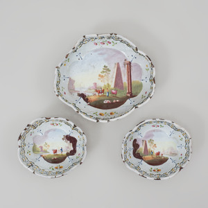 Set of Three English Enamel Pierced Dishes