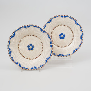 Pair of Creamware Ozier Molded Plates